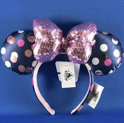 Disney Parks Minnie Mouse Navy Blue Polka Dot Ears Pink Sequin Bow Headband New