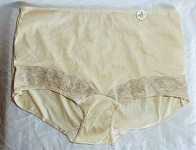 Vtg Silky Nylon Briefs Granny Panties 7 Large Nude Beige Panty Greenwald &Son