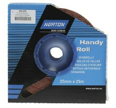 Norton MEDIUM ABRASIVE CLOTH ROLL 80-Grit Aluminium Oxide- 25mx25mm Or 25mx50mm