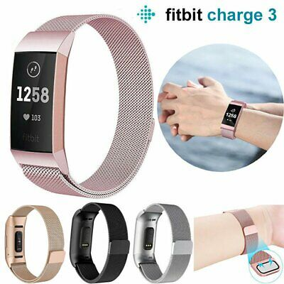 For Fitbit Charge3 Replacement Magnetic Loop Strap Stainless Steel Wrist Band HT