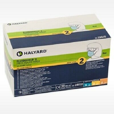 Halyard Fluidshield Earloop Face Mask 28810 ASTM Level 2 Blue Bx/50 Medical