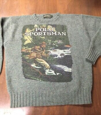 Rare OG 90s Vintage Polo Country Ralph Lauren Sportsman Fishing Wool Sweater XL