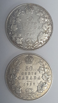 Canada 50 cent silver halves 1917, 1929 F to VF