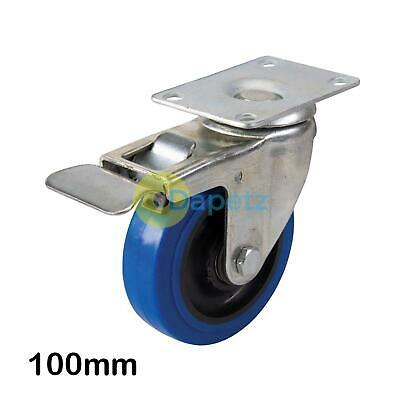 Blue Elastic Rubber Castor -100mm 140Kg Blue Swivel Wheel With Non-Marking Tyres