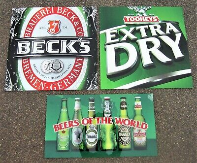 3x BEER SIGNS Drinks Alcohol Bar GENUINE Promotional Bottle Shop Display Brewery