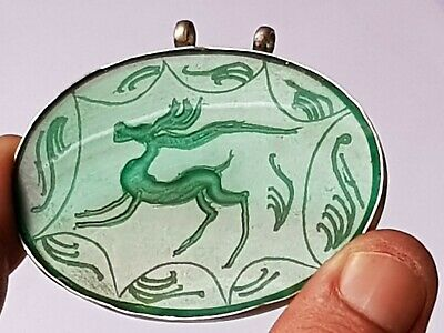 Extremely Rare Silver Pendant Rare Stone Animal Figures 21,2 Gr 72 Mm