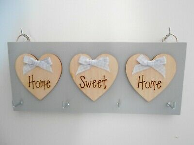 X-Large Key Holder Home Sweet Home Grey, with birch wood hearts