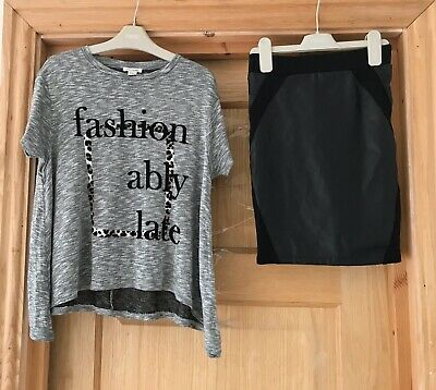 RIVER ISLAND *7-8y GIRLS Fabulous TOP FAUX LEATHER SKIRT OUTFIT Age 7-8 YEARS