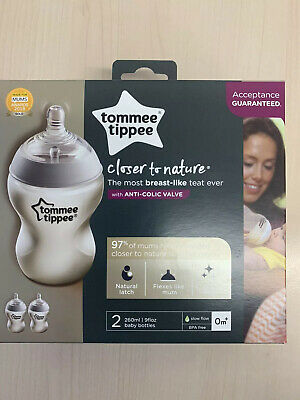 Tommee Tippee close to nature 4x 260ml Bottles, Anti-colic Baby Bottle