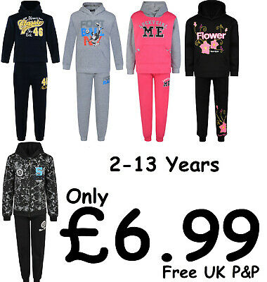 Kids Tracksuit Boys Girls Jog Sets Hooded Top Joggers 2Pc Mixed Designs Bnwt