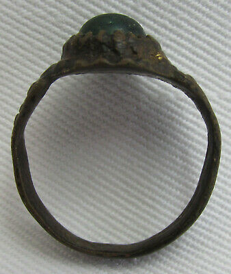 Ancient Old Byzantine Middle Ages Bronze Ring With Glass Paste!!!