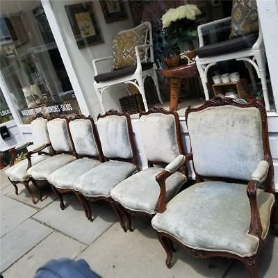 Set Of 6 Walnut French  Victorian Dining Room Chairs