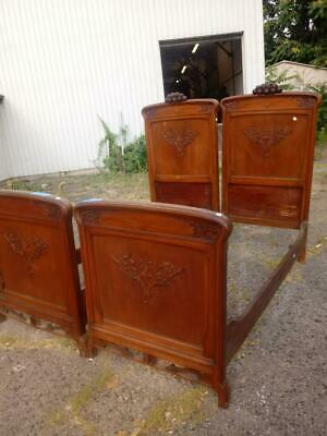 Nice Pair Of Antique Walnut Art Nouveau Italian Beds