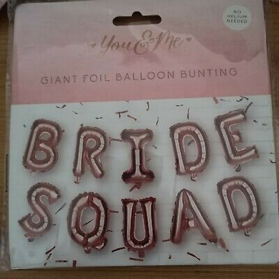 Bride Squad Giant Foil Balloon Bunting No Helium Needed