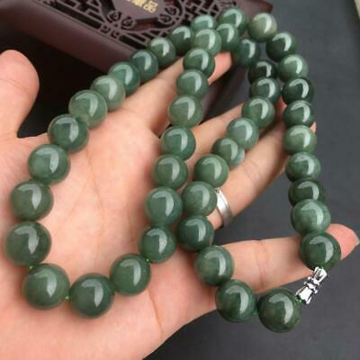 Certified Oily Green Natural A Jade Jadeite Carved 13MM Beads 580MM Necklace