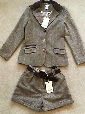 BNWT MONSOON beautiful brown wool blend jacket & shorts suit 11-12  12-13 yrs