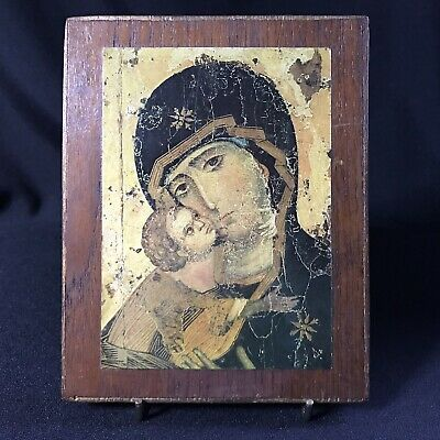 Vintage Russian Icon Vladimir Mother Of God (Madonna & Baby) Wooden Plaque