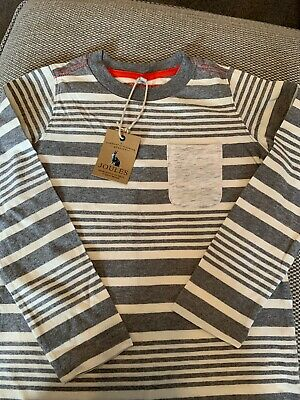 Joules long sleeve top age 7-8 years Grey striped boys. New With Tags