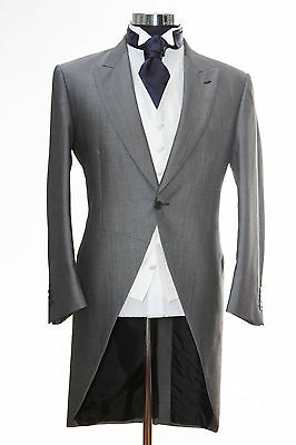"Mens Silver Grey Ascot Tails 42"" Size Large Tailcoat Ex Hire Wedding Jacket."