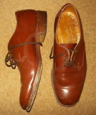 mens vintage brown tan leather shoes size 8 made in Northamptonshire Citadel