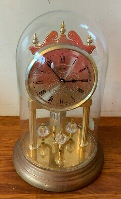 Vintage Anniversary Kundo Glass Dome Mantle Clock Working Battery Crystal