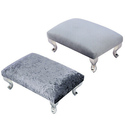 Velvet Fabric Upholstered Footstool Ottoman Pouffe Feet Stool Footrest Kid Chair
