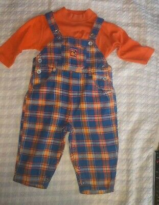 Lovely Baby Boys Vintage Dungaree And Top Set Orange /Blue Checked Boots- 6-12m