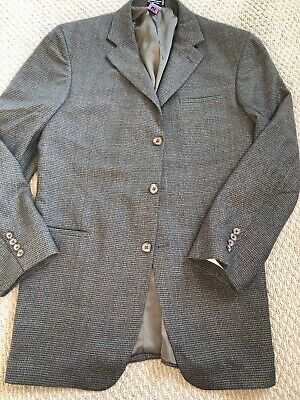 Geoffrey Beene men's 3-button jacket Blazer houndstooth 43L brown black Designer