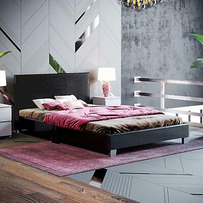 Lisbon Bed Faux Leather Small Double Modern Headboard Slatted Bed Frame Black