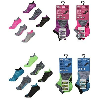 3 Pairs Boys Girls Trainer Ankle Socks Sports Liners Soft Cushion Heel & Toe
