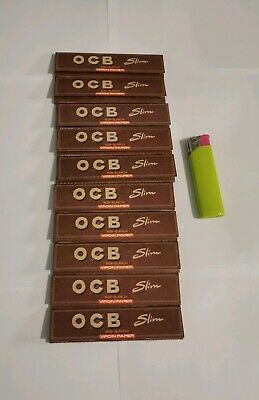 Lot 10 carnets de 32 feuilles à rouler ocb slim marron virgin, 1 briquet offert
