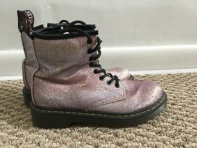 Delaney Glitter Pink Purple Lilac Doc Marten Boots Dr.Martens Size 2 Youth Girls