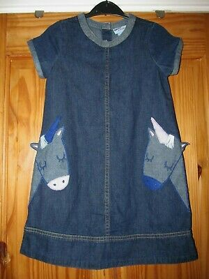 Girls size 6-7 years soft denim dress with unicorn details from