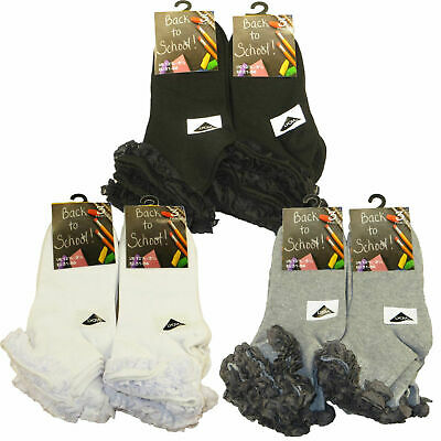 3,6,12 X Girls Kids Socks Lace Top Cotton Rich White Grey Black Trainer School