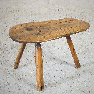 Rustic Antique Stool - Oak - Primitive - 3 Legged