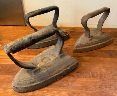 3 Vintage Irons 5 6 7 Door Stops Fireplace Decoration Paper Weights