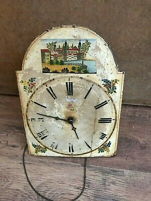 ** Antique Longcase Clock Birdcage Movement with Painted Dial **
