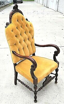 Antique c 1800's Spanish Revival Fireside Velvet Throne Tufted Armchair