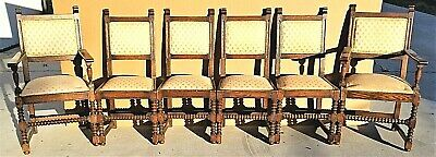 Set of 6 Only Antique 1800's Dutch Jacobean Hand Carved Oak Dining Chairs