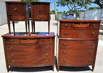 Antique 4 Piece VANLEIGH FURNITURE of New York Mahogany Bedroom Set