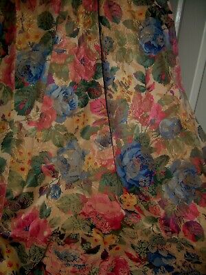 Ex Vicarage jacquard curtains. Green/pink/blue floral mix. Lined. Tape tops. MTM