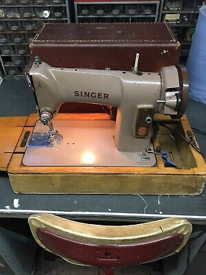 Singer 185K Semi Industrial Electric Sewing Machine With Case And Extras.