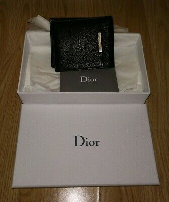 Dior Homme Wallet Purse Bifold Black Leather Mens Authentic Rare With Box