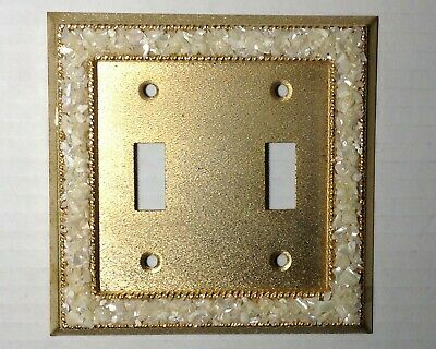 Vintage Elegant Gold Pearl Towne Hardware Double Light Switch Switchplate Cover