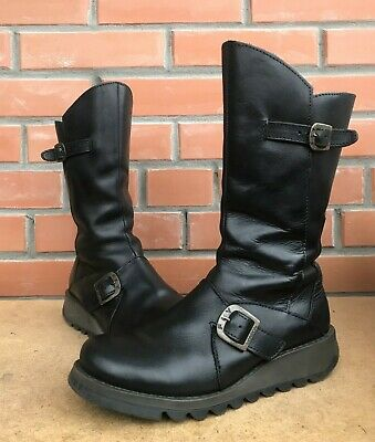 Fly London Women 6.5 7 US 37 Mes Biker Boots Mid Calf Height Low Wedge Leather