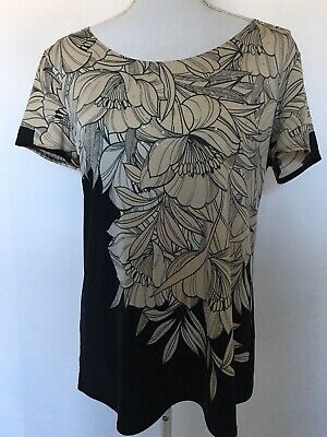 NY Collection Womens Size Large Top Black Tan Floral Print Short Sleeve