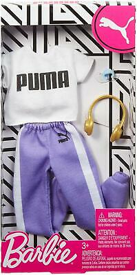 Barbie Doll Clothes PUMA Fashion Outfit Pack White Shirt Purple Joggers 4pc