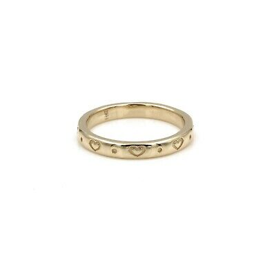 14K Solid Gold James Avery Retired Heart 2.9 Mm Band Size 8 #7299-1