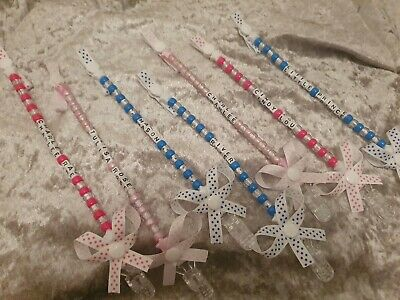 ❤💎 Dummy clips personalised 💎❤  Pink or blue buy 2 get 1 free