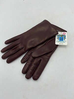 AUTH PORTOLANO WOMENS GLOVES LEATHER Brown CASHMERE LINED LONG SZ 7